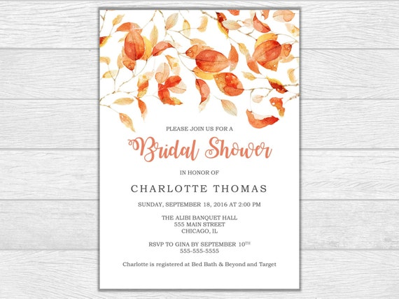 Bridal shower bridal shower invite bridal shower invitation wedding invitation printable invite digital download wedding shower fall invite