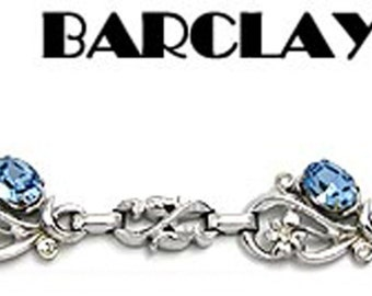 Vintage Barclay Bracelet Blue Rhinestone & Silver Tone
