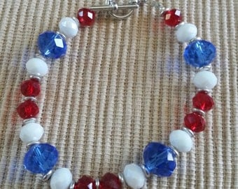 Red,  White, n Blue Czech Crystals Bracelet