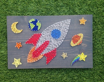 MADE TO ORDER- Outer Space, Rocketship String Art