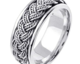 Titanium & 14K White Gold HandBraided Wedding Bands 7MM
