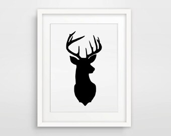 Antler Print / Deer - Stag Antlers Print / Black and White / Antler Decor / Wall Art / Home Decor / Woodlands Animal