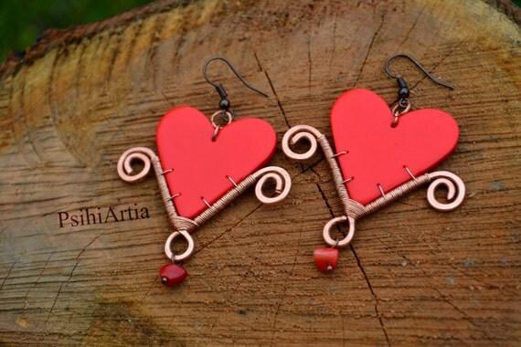 Heart shaped earrings Heart earrings Heart jewelry Love jewelry Polymer clay Wire wrapped jewelry Polymer clay earrings Love gift OOAK