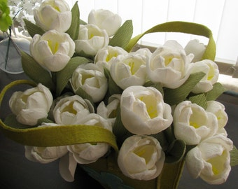 White crepe paper tulips, Wedding decor flower, Handmade alternative bouquet, Centerpieces bridal table, Spring decor for special occasion