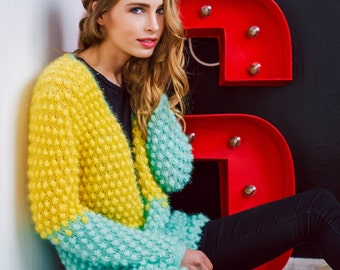 Knitted Coat, Chunky Knit Cardigan, Yellow Sweater, Chunky Sweater Coat, Maxi Cardigan, Womens Knit Cardigan, Long Cardigan Coat