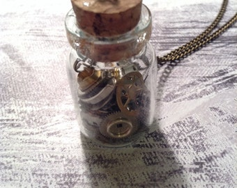 Found Object Steampunk Clockparts Necklace