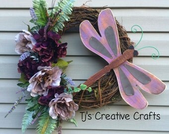 Dragonfly Wreath, Summer Decor, Dragon Fly Wreath, Designer Wreath, Summer Door Decor, Grapevine Wreath, Purple Wreath, One of a kind