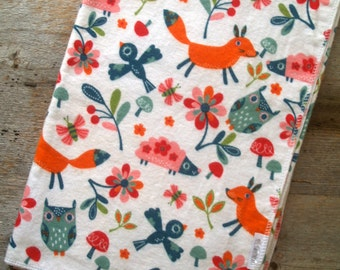 Extra Large Woodland Animals Flannel Baby Receiving/Swaddle Blanket-Owl-Fox-Bird-Hedgehog-Baby Shower Gift-Flowers-Floral-Girl-Nursery