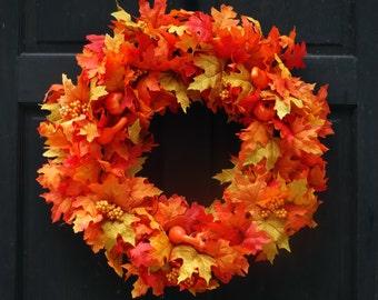 Fall Leaf Wreath, Fall Wreath, Fall Leaves Wreath, Autumn Wreath, Autumn Door Wreath, Fall Door Wreath, Fall Door Decor, Autumn Door Decor