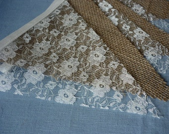 Rustic Wedding Bunting, Lace & Hessian Bunting, Burlap, Party Wedding decoration, Photo prop, shop display, Venue Decoration, Room Decor