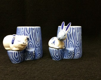 Delft Blue - Two lovely hard to find Pottery, Holland,  Blue and White Mini Mugs with a pig and a rabbit atop the handles.