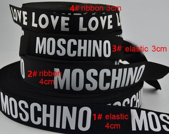 10 meters 3-4cm wide black ivory MOSCHINO/LOVE printed stretch elastic ribbon tapes L23J4 free ship