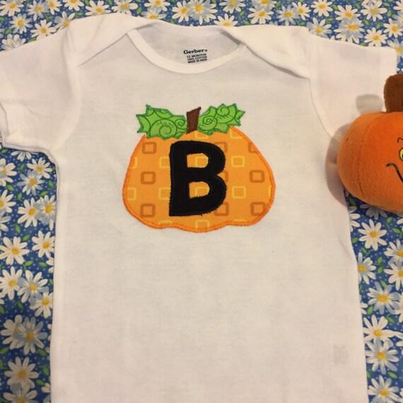 Infant boy pumpkin appliqué onesie bodysuit with initial