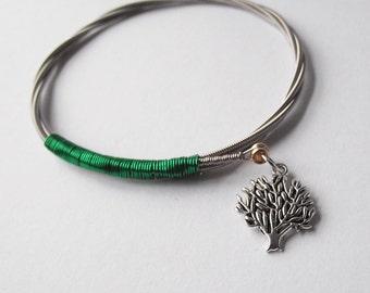 Guitar string bracelet with tree charm 1