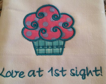 Pink Polka-Dot Cupcake Applique Towel