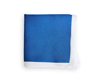 Frederick Thomas knitted Cobalt Blue with White Edging pocket square with white edging FT3172