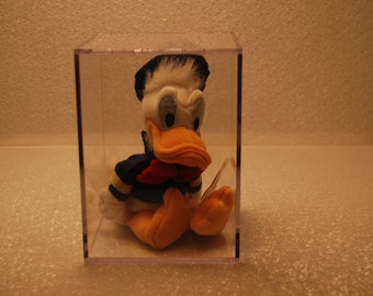 """Vintage """"Rare"""" Donald Duck Mini Bean Bag 9"""" Made by Mouseketoys for Disney 1995 with Display Cube ~ Free Shipping"""