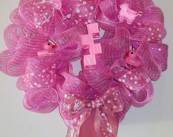 Baby Girl Wreath, Baby Nursery Wreath, It's a Girl Wreath, Girl Shower, Baby Shower Wreath, Pink Wreath, Girl, Nursery Decor