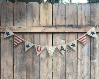 USA Stars and Stripes (burlap banner)