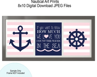 20% Off SUMMER SALE!  Soft Pink and Navy Nautical Art Prints, 8x10, Digital Files, Nautical Girl Nursery, Light Pink
