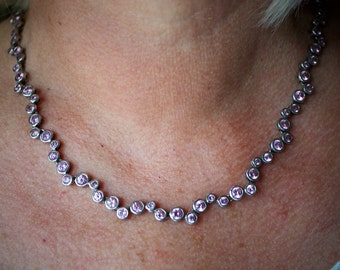 Vintage silver and pink cut paste stone necklace