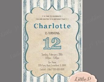 Stripe Invitation. Teen Girl Birthday Invitation. 15th Invitation. 16th Invitation. Denim Blue Invitation. Kraft Paper Invites. 12th 078