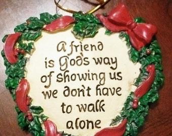 "Heart Shaped Christmas ""Friend"" Ornament"