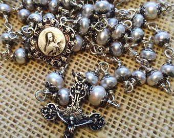 Heirloom Pearl Rosary, Sterling silver, Pearl rondelle 6mm and 8mm, St Therese, Catholic, Christian