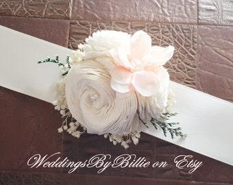 Blush Pink Wedding Corsage, Sola,Mother Corsage, Prom Corsage,Sola Corsage,Mother's Corsage,Wedding Flowers, Blush Corsage, Keepsake Corsage