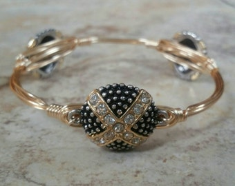 Gun Metal, Gold, and Crystal Bauble Charm Candy Bangle