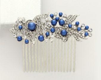 Something Blue Hair Comb, Royal Blue Bridal Comb, Blue Wedding Hair Accessory, Blue Hair Piece, Bridesmaid Comb, Blue Hair Pin