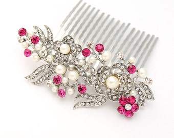 Rhinestone Hair Comb, Crystal Pink Hair Comb, Pink Bridal Comb, Pink Wedding Hair Accessory, Prom Bridesmaid Comb, Rhinestone Hair Pin