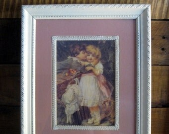 Shabby Painted and Distressed off White Frame with vintage Boy kissing girl picture 8 X 10. 8x10 frame
