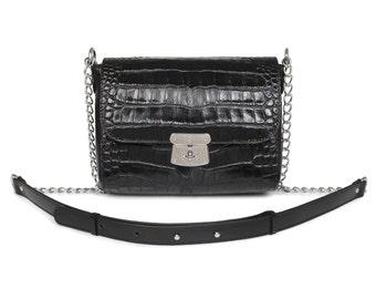 Leather Crossbody Bag, Black Leather Shoulder Bag, Women's Leather Cross body Bag, Leather bag KF-597