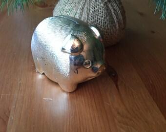 Coin Bank Pig Silver Metal Piggy Bank