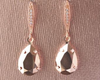 Swarovski Crystal Rose Gold  Earrings - Bride, Wedding, Bridal Party, Bridesmaid, Bridal Gift, Bridal Jewelry, Bride's Gift BP-308RG