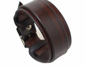 SB genuine leather wristband first class leather bracelet handmade leather cuff men's bracelet strap brown