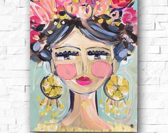 Woman print portrait impressionist modern abstract girl painting large canvas