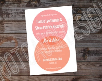 Venn Diagram Wedding Invitation | Modern Wedding Invitation | Circle Wedding Invitation