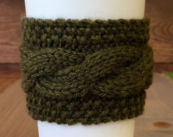 Moss Coffee Sweater - Knit Cabled Coffee Cozy - Army Green Coffee Cozy - Green Coffee Cozy– Cable Coffee Cozy – Knit Coffee Cozy