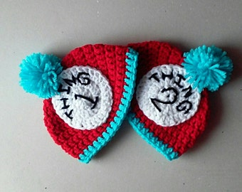 Thing 1 Thing 2 hats, Newborn Photo Prop, Dr. Suese