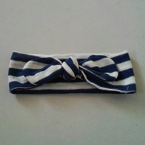 Navy and White Striped Knot Headband