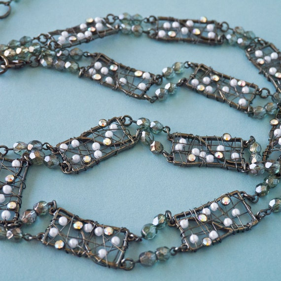 Unique Wire and Bead Vintage Necklace with Pearl and Rhinestone detail