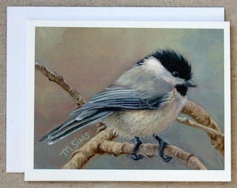 Chickadee - bird notecard - bird painting - bird stationary - paper goods - thank you notes