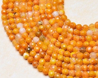 "Orange fire agate 4 mm faceted round beads 14"" strand (#J1080)"