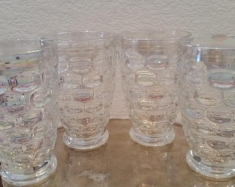 Vintage Federal Glass Colonial Iridescent Tumblers