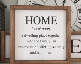 Home Definition Wood Sign, Home Wood Sign, Wall Decor, Farmhouse