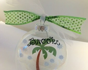 Palm tree personalized ornament; floating ornament; tropical christmas gift