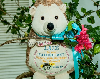 Personally Embroidered HEDGEHOG EMBROIDER BUDDY! Birth Announcements, Monograms, Messages and Names on Darling 16 inch animals! Too cute!!