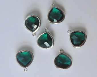 Emerald Drop, Glass Drop, Faceted Teardrop, Rhodium Plated Frame, One Piece, 15x18mm, Fast Shipping from USA